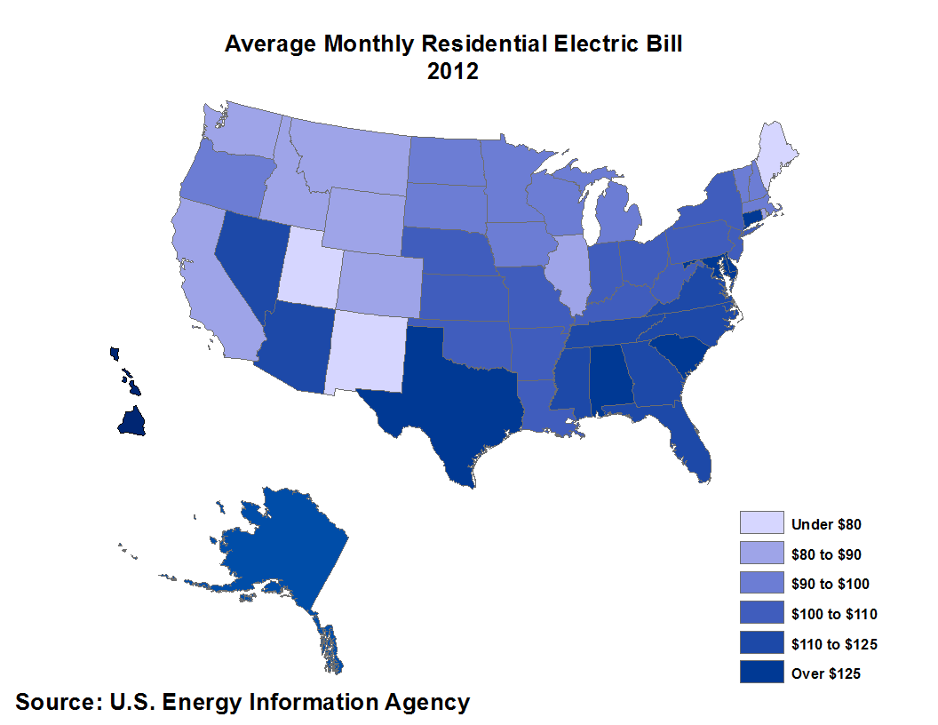 Average Monthly Electric Bill by State Eye On Housing